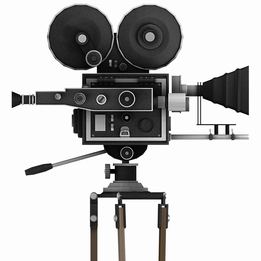 Vintage Film Movie Camera (low poly) royalty-free 3d model - Preview no. 4