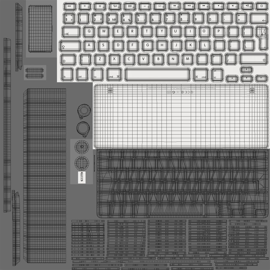Apple Wireless Keyboard 3D 모델 royalty-free 3d model - Preview no. 18