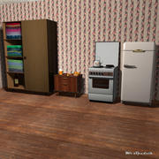 Möbel, Herd, Kühlschrank 3d model