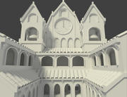 Courtyard with Cathedral 3d model