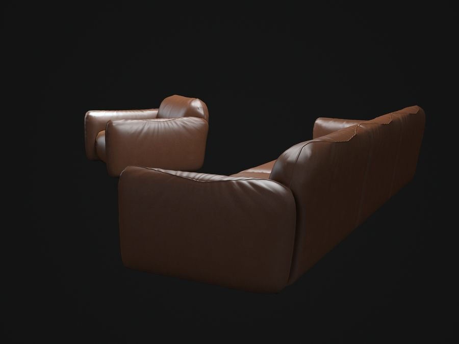 piumotto-busnelli- 소파 royalty-free 3d model - Preview no. 5