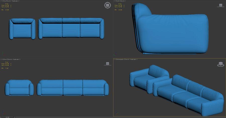 piumotto-busnelli-soffa royalty-free 3d model - Preview no. 9
