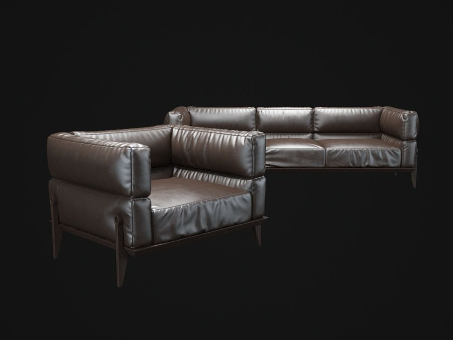 AGO-sofa royalty-free 3d model - Preview no. 2