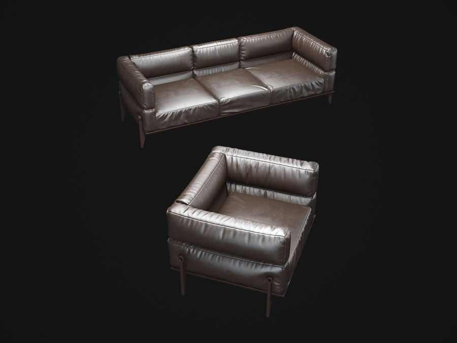 AGO-sofa royalty-free 3d model - Preview no. 3