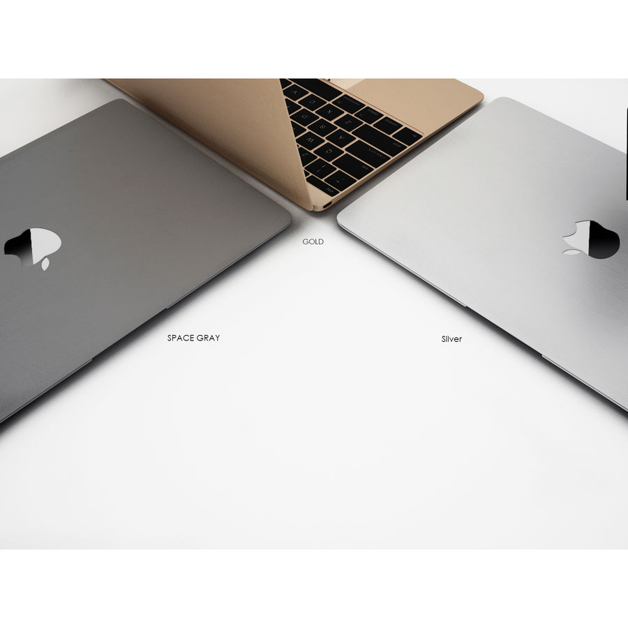 苹果MacBook 2015 royalty-free 3d model - Preview no. 5