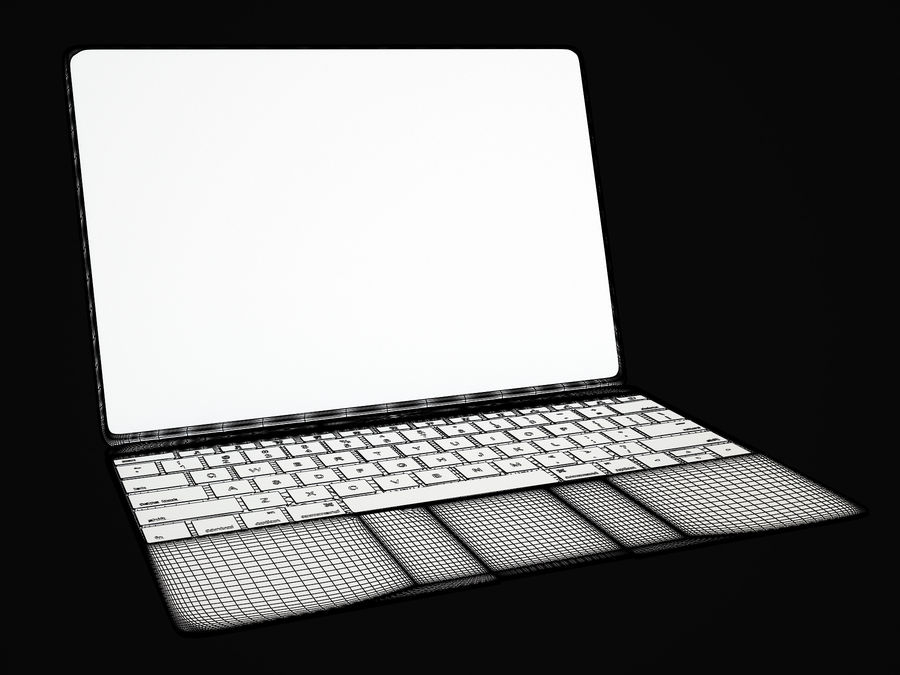 苹果MacBook 2015 royalty-free 3d model - Preview no. 7