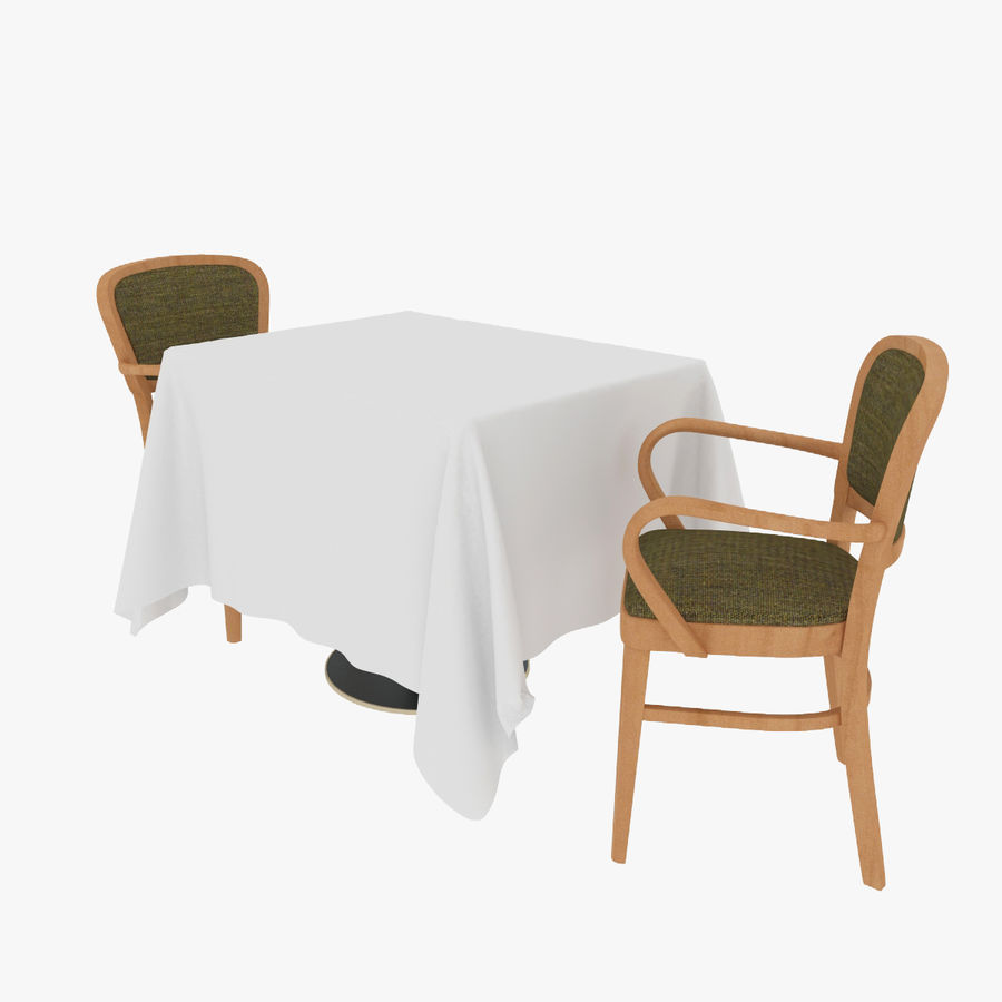 Eettafel en stoel meubels set royalty-free 3d model - Preview no. 1