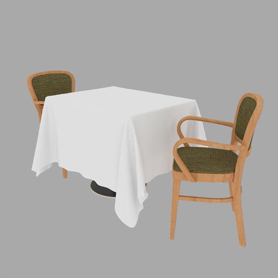Eettafel en stoel meubels set royalty-free 3d model - Preview no. 2