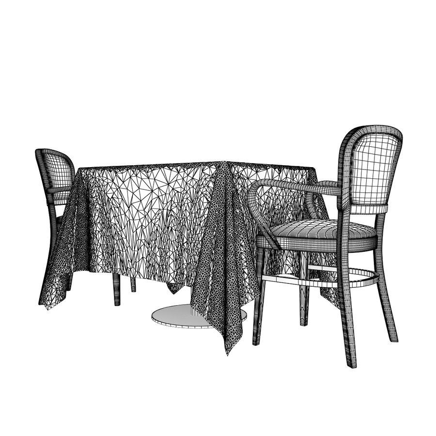 Eettafel en stoel meubels set royalty-free 3d model - Preview no. 8