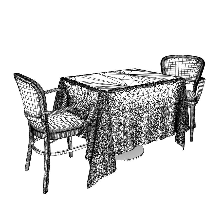 Eettafel en stoel meubels set royalty-free 3d model - Preview no. 7