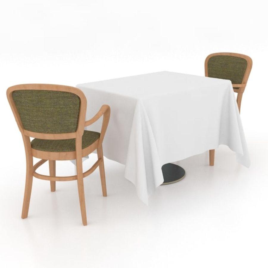Eettafel en stoel meubels set royalty-free 3d model - Preview no. 5