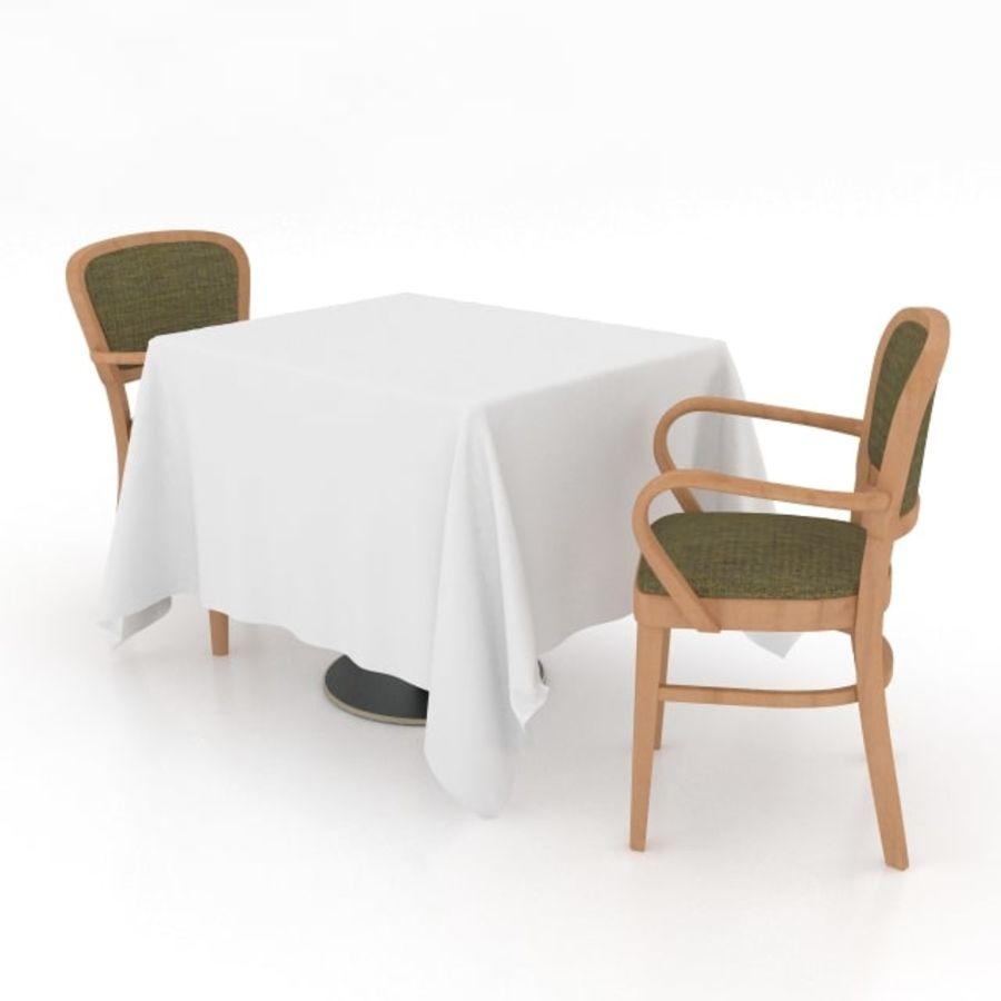 Eettafel en stoel meubels set royalty-free 3d model - Preview no. 3