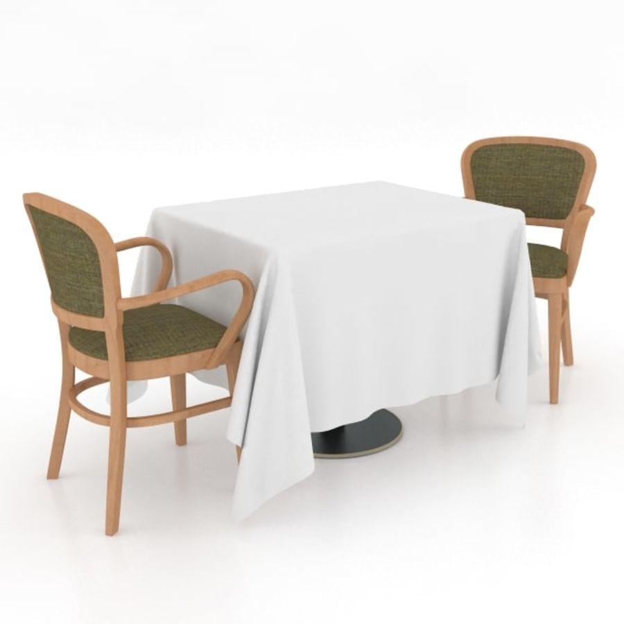 Eettafel en stoel meubels set royalty-free 3d model - Preview no. 4