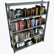 Metal Shelving With Books And Files 3d model