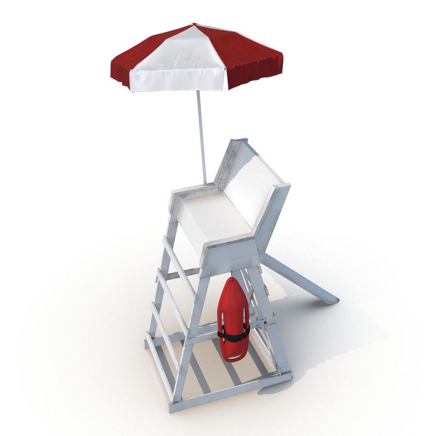 Silla salvavidas con sombrilla royalty-free modelo 3d - Preview no. 12