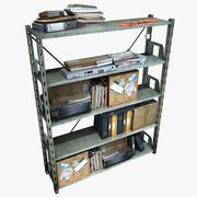 Metal Shelving With Clutter 3d model