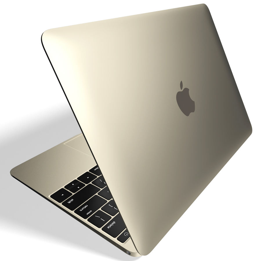 Apple MacBook 2015 goud royalty-free 3d model - Preview no. 5