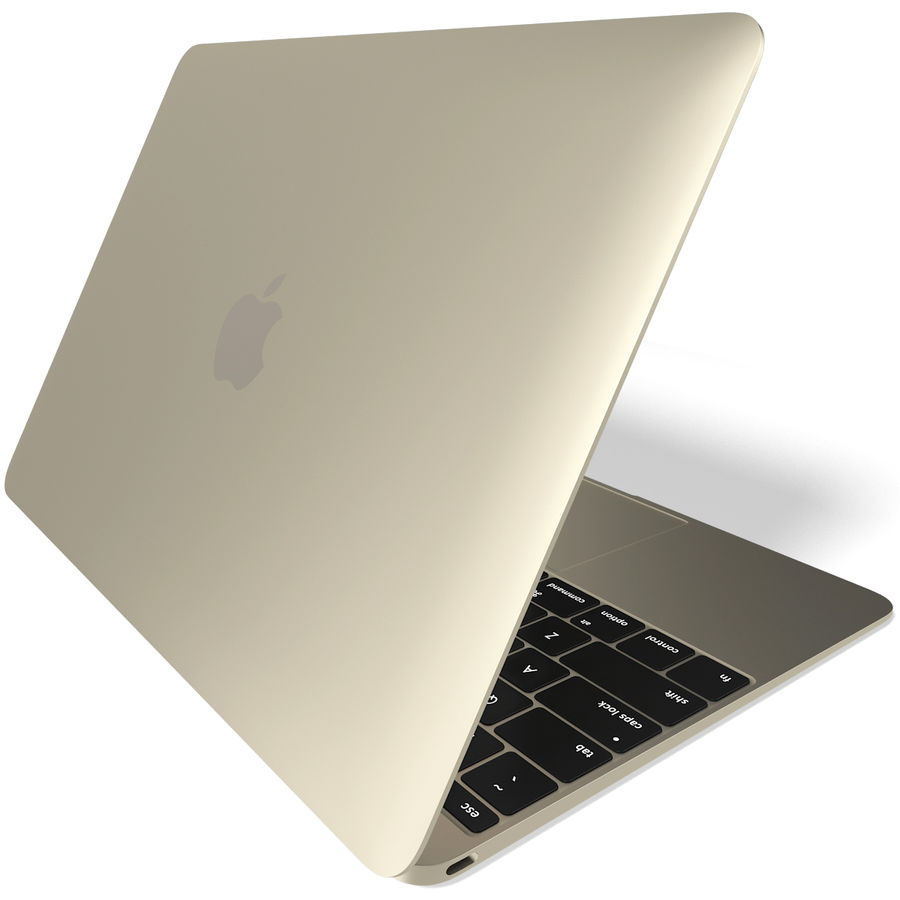 Apple MacBook 2015 goud royalty-free 3d model - Preview no. 6