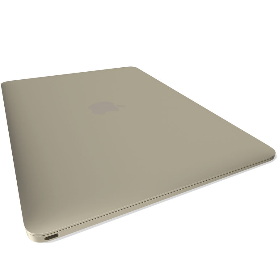 Apple MacBook 2015 goud royalty-free 3d model - Preview no. 9