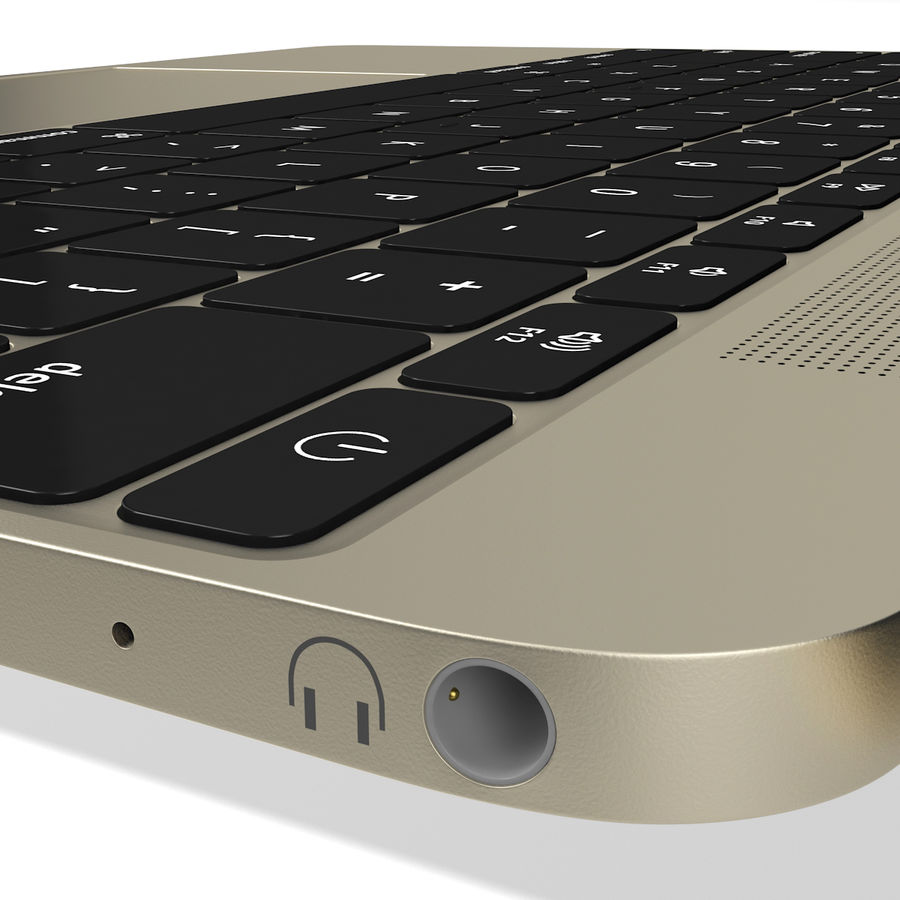 Apple MacBook 2015 goud royalty-free 3d model - Preview no. 12