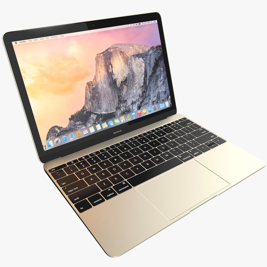 Apple MacBook 2015 goud royalty-free 3d model - Preview no. 1