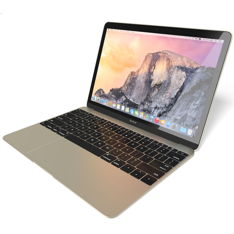 Apple MacBook 2015 goud royalty-free 3d model - Preview no. 4