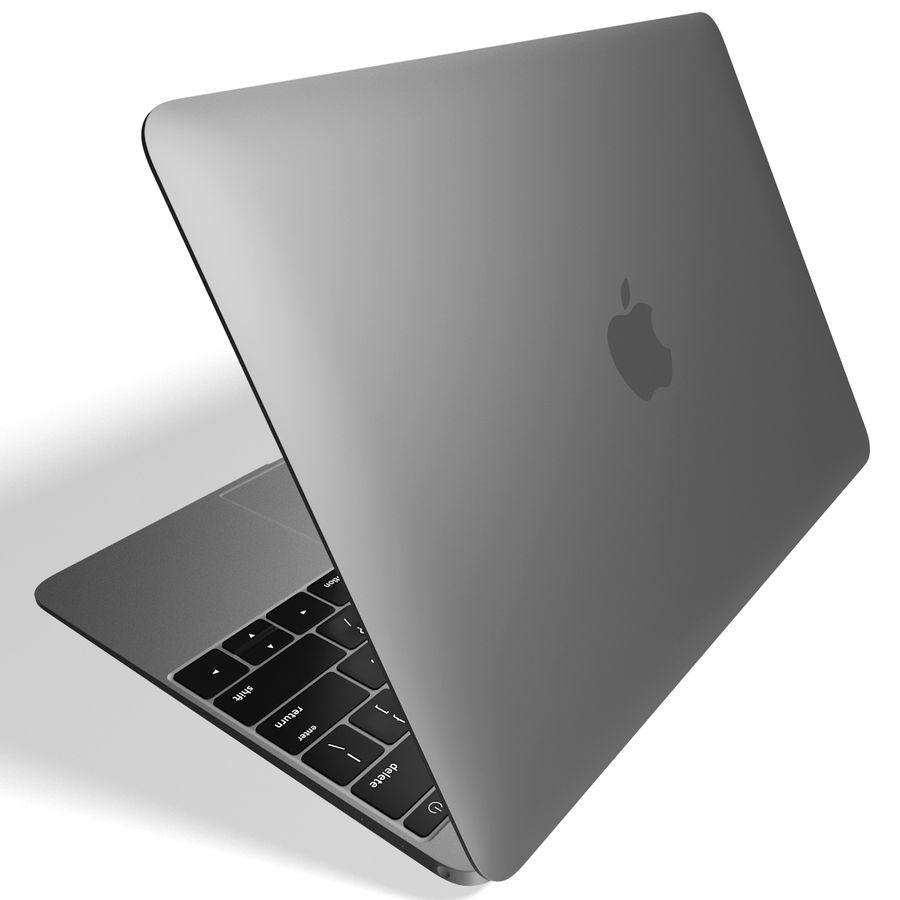Apple MacBook 2015 grijs royalty-free 3d model - Preview no. 5