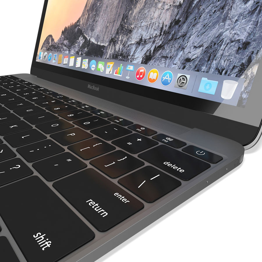 Apple MacBook 2015 grijs royalty-free 3d model - Preview no. 11