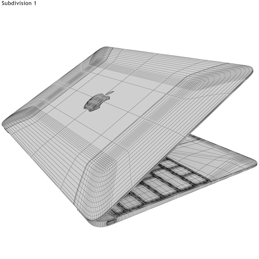 Apple MacBook 2015 grijs royalty-free 3d model - Preview no. 21