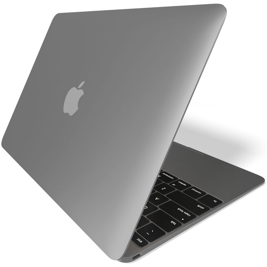 Apple MacBook 2015 grijs royalty-free 3d model - Preview no. 6