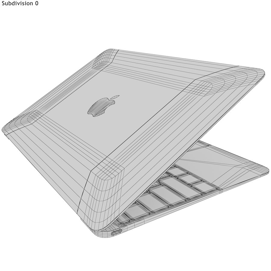 Apple MacBook 2015 grijs royalty-free 3d model - Preview no. 20
