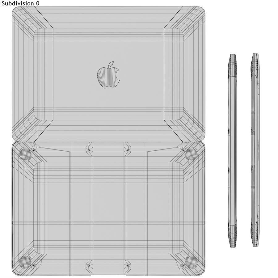 Apple MacBook 2015 grijs royalty-free 3d model - Preview no. 16