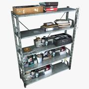 Metal Shelving With Clutter (2) 3d model