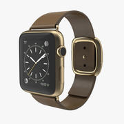 Apple Watch Gold 42mm Soft Brown Leather 2 3D 모델 3d model