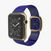 Apple Watch Gold 42mm Soft Blue Leather 2 3D 모델 3d model