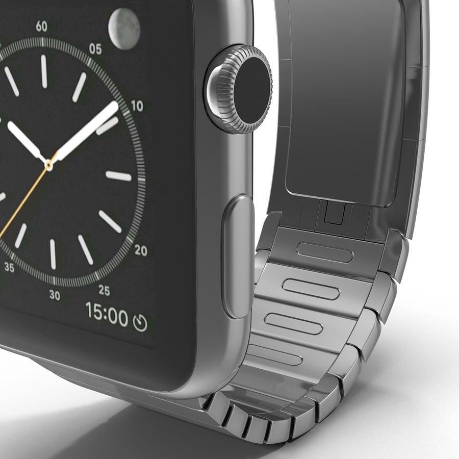 Apple Watch 42mm Link Bracelet Dark Space 2 3D 모델 royalty-free 3d model - Preview no. 15