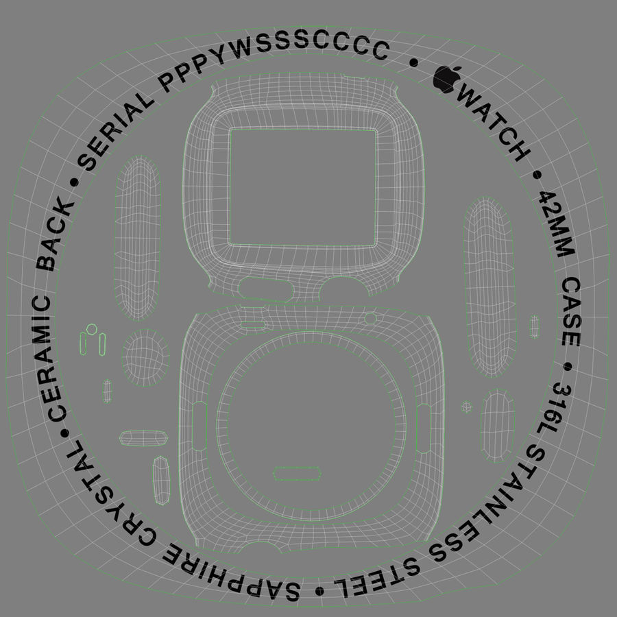Apple Watch 42mm Link Bracelet Dark Space 2 3D 모델 royalty-free 3d model - Preview no. 23