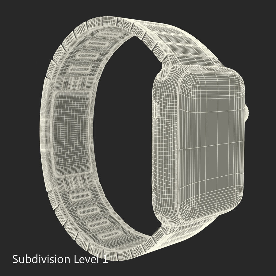 Apple Watch 42mm Link Bracelet Dark Space 2 3D 모델 royalty-free 3d model - Preview no. 21