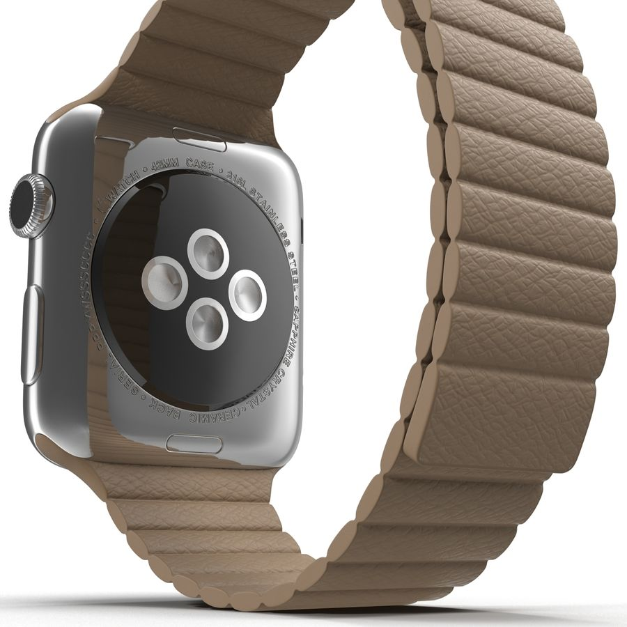 Apple Watch 42mm Brown Leather Magnetic Closure 3D 모델 royalty-free 3d model - Preview no. 18