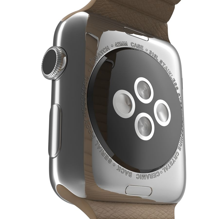 Apple Watch 42mm Brown Leather Magnetic Closure 3D 모델 royalty-free 3d model - Preview no. 16