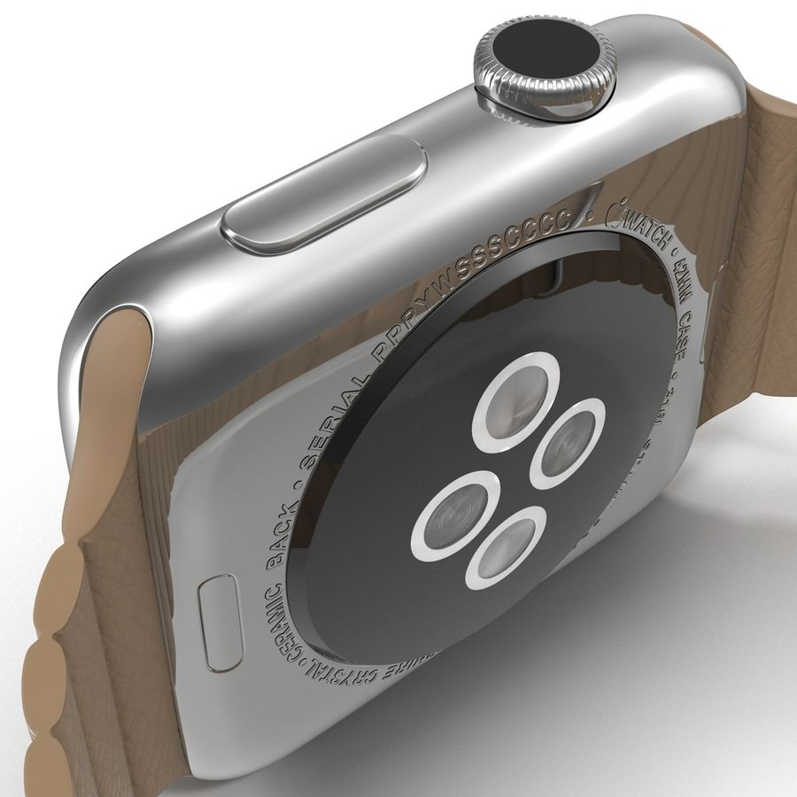Apple Watch 42mm Brown Leather Magnetic Closure 3D 모델 royalty-free 3d model - Preview no. 20