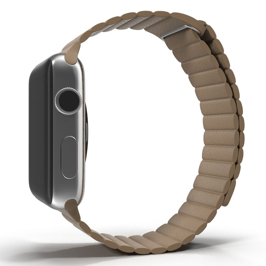Apple Watch 42mm Brown Leather Magnetic Closure 3D 모델 royalty-free 3d model - Preview no. 5