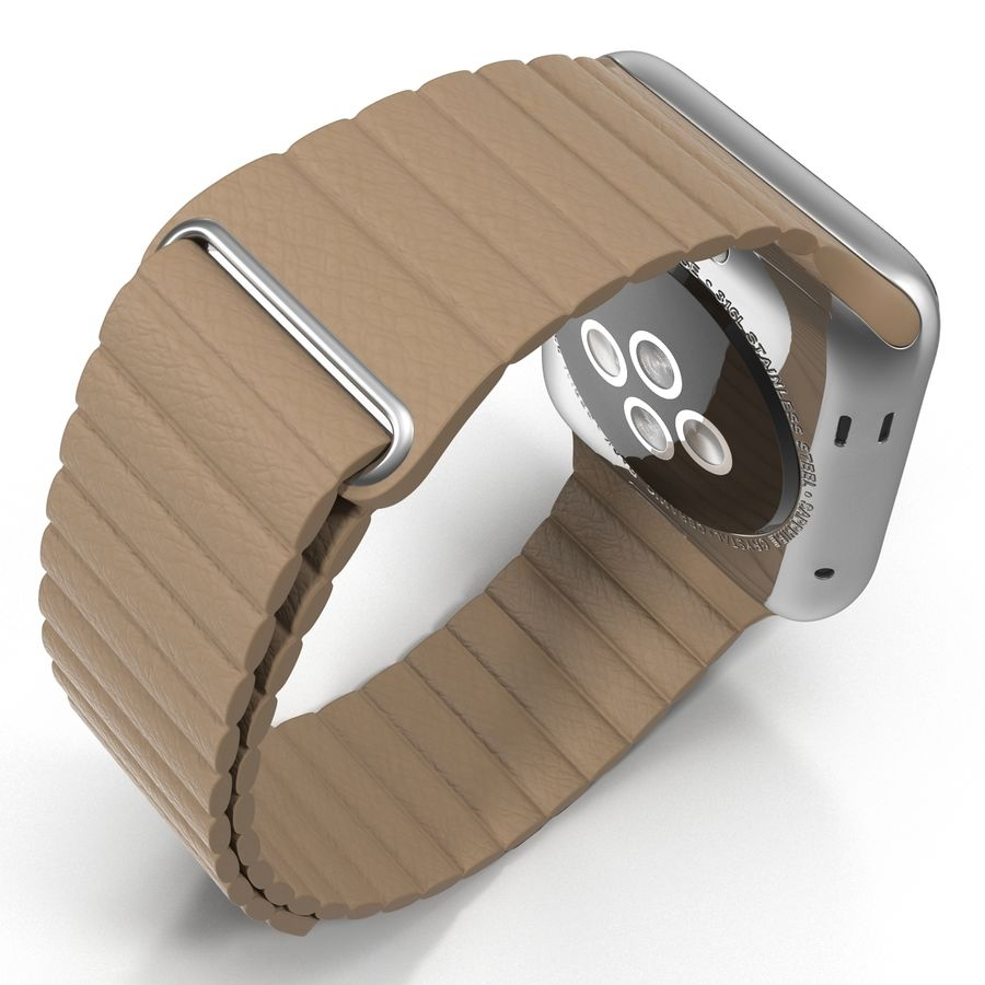 Apple Watch 42mm Brown Leather Magnetic Closure 3D 모델 royalty-free 3d model - Preview no. 9