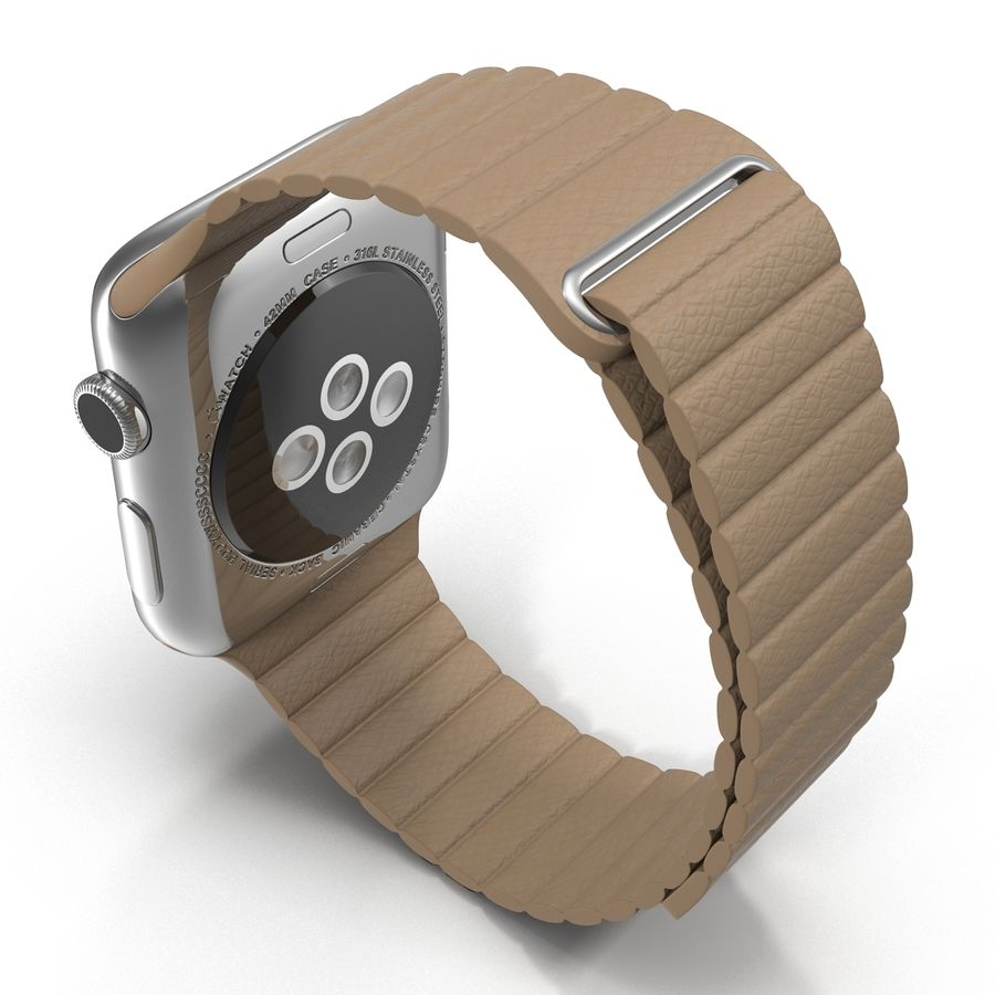Apple Watch 42mm Brown Leather Magnetic Closure 3D 모델 royalty-free 3d model - Preview no. 6