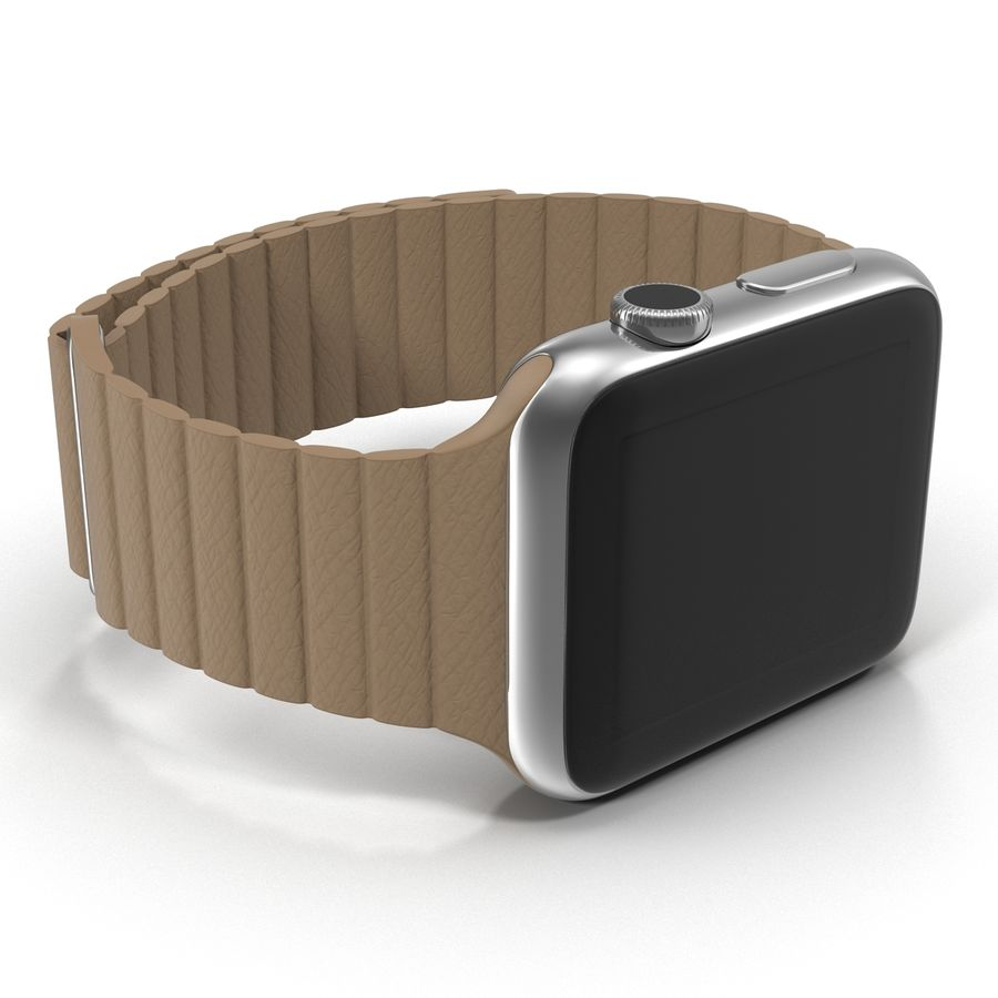 Apple Watch 42mm Brown Leather Magnetic Closure 3D 모델 royalty-free 3d model - Preview no. 13