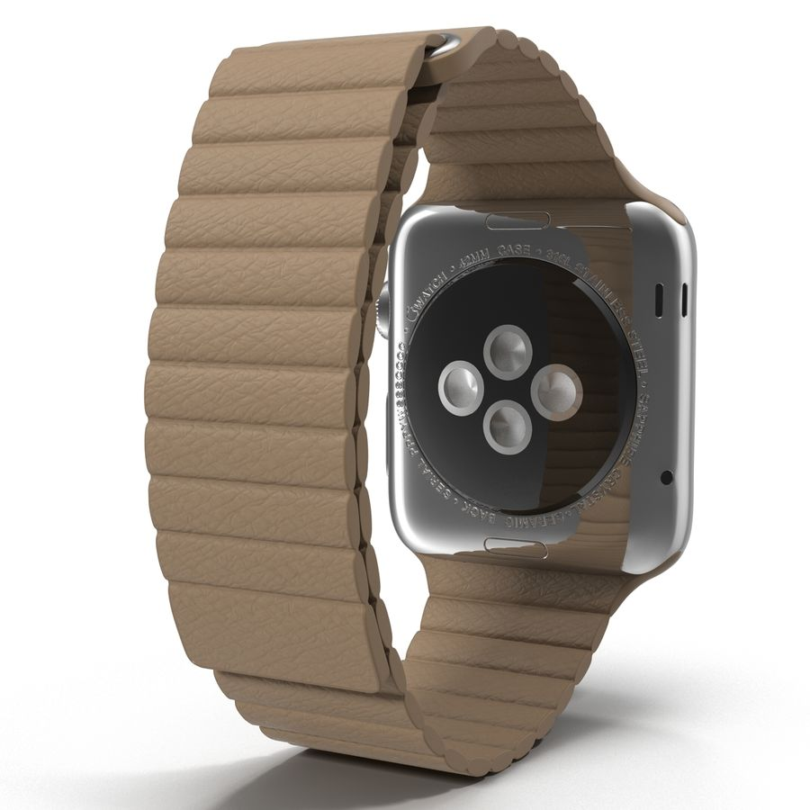 Apple Watch 42mm Brown Leather Magnetic Closure 3D 모델 royalty-free 3d model - Preview no. 4