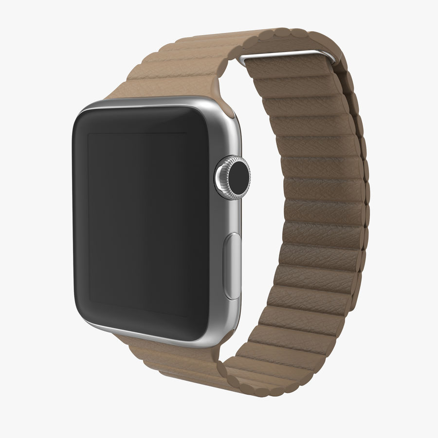 Apple Watch 42mm Brown Leather Magnetic Closure 3D 모델 royalty-free 3d model - Preview no. 1