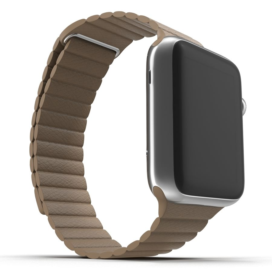 Apple Watch 42mm Brown Leather Magnetic Closure 3D 모델 royalty-free 3d model - Preview no. 8