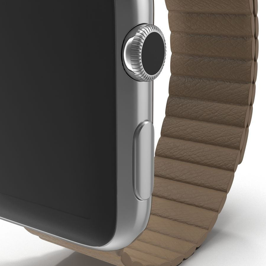 Apple Watch 42mm Brown Leather Magnetic Closure 3D 모델 royalty-free 3d model - Preview no. 15