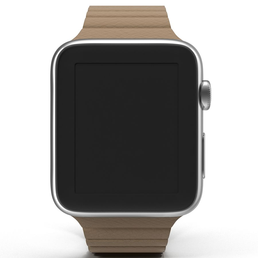 Apple Watch 42mm Brown Leather Magnetic Closure 3D 모델 royalty-free 3d model - Preview no. 3